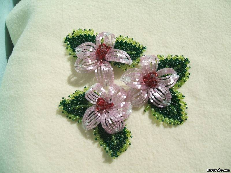цветы из бисера французское плетение - Бисероплетение для Всех!